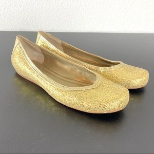 Nine West sparkly gold ballet flats size 6